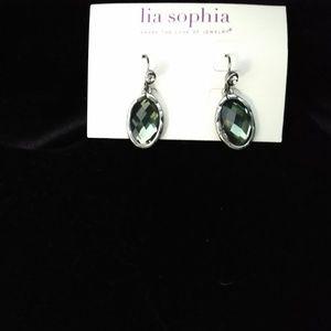 Lia Sophia Green Crystal Drop Earrings